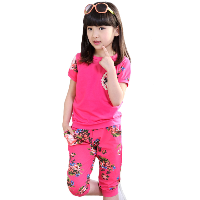 New Fashion Summer Style 2017 Girls Sets Casual Cotton O-neck Suits Floral Sports Tracksuits Children's Girls Cotton Clothing kids girls summer 2014 new o neck short sleeve floral sports suits fashion print cartoon clothing sets t shirts and pants h2691