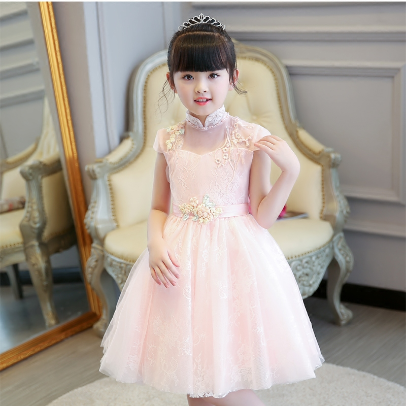 2018 Children Girls Sweet Pink Birthday Wedding Evening Party Lace Ball Gown Dress Baby Kids Dance Performance Princess Dress цена 2017