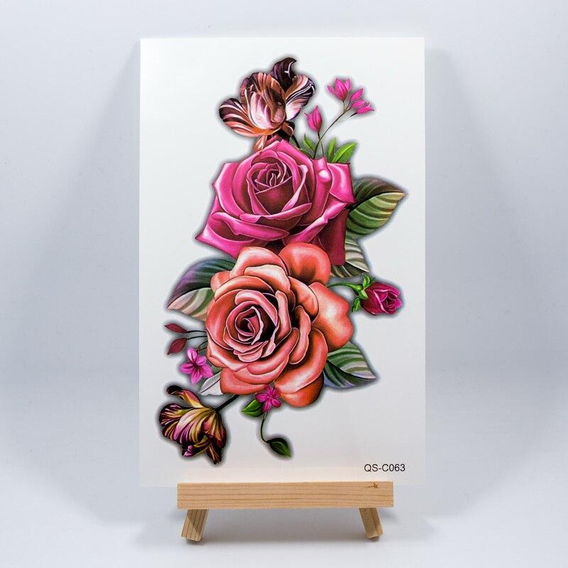 19cm*12cm 3D Rose Flowers 64models Arm Shoulder Tattoo Indian Arabic Fake Temporary Tattoos Stickers Waterproof Women Hot Summer