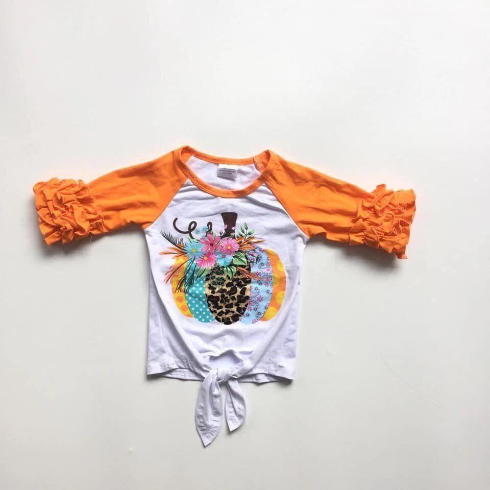 Halloween Cute Pumpkin Autumn Girl Long Sleeve Shoulder Sleeve Bull Head Print Hot sell2019