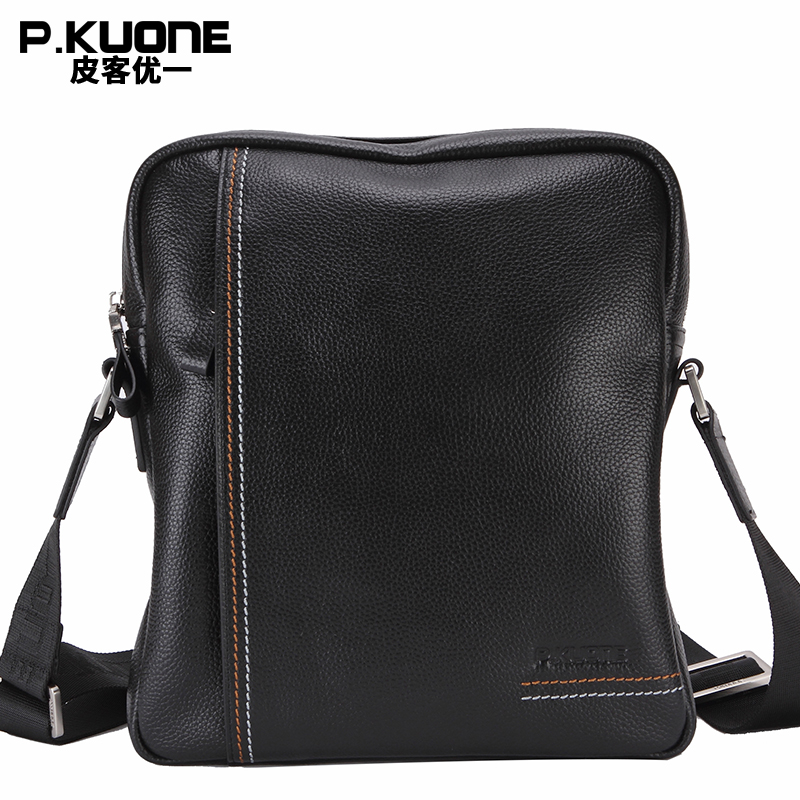 P.KUONE Genuine Leather Male Shoulder Bag Fashion Famous Brand Travel Clutch Bags New Designer Men Handbag Leisure Messenger Bag hot sale european and american fashion men genuine leather famous kpaullon brand shoulder handbag designer mens messenger bag