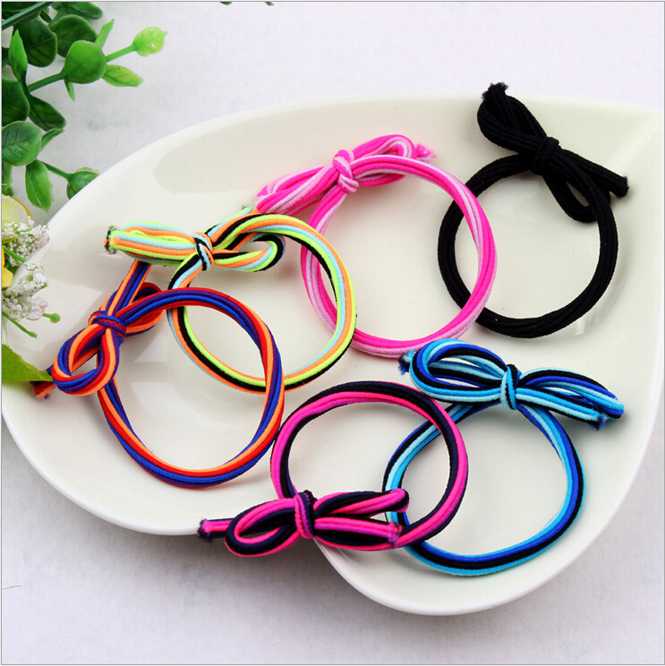 Wholesale price double-color strip hair bands with bowknots fashion gilrs ponytail  rope baby ring 30pcs/lot