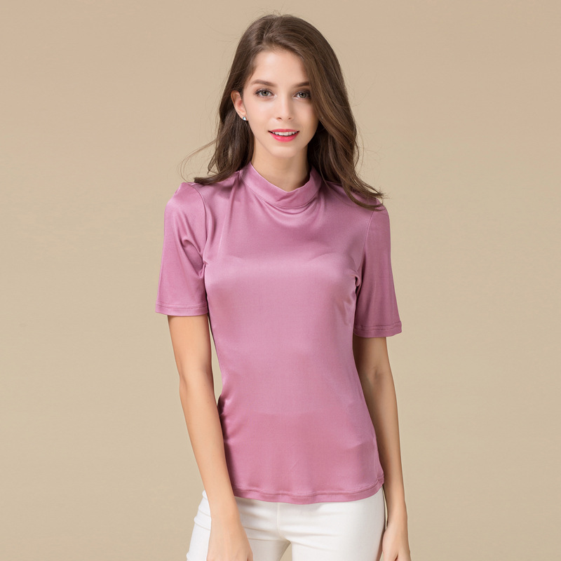 Woman Spring Hot Sale Solid Short Sleeve Turtleneck Knitted 100% Silk Tops Female Summer Stretch Hedging Breathable Slim Tees