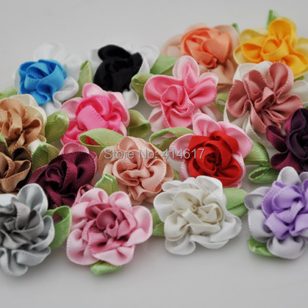 20pcs ribbon flowers with leaf handmade flowers apparel sewing appliques  DIY accessories A047 8e63f69d01ed