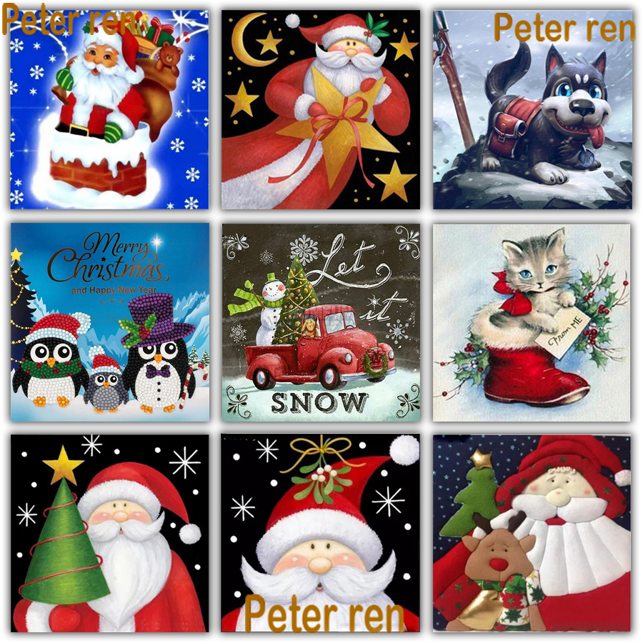 Peter ren Diy Diamond Painting Cross stitch kit full Embroidery Christmas  Round drill Mosaic pictur Santa Claus dog cat penguin 9cf33724a