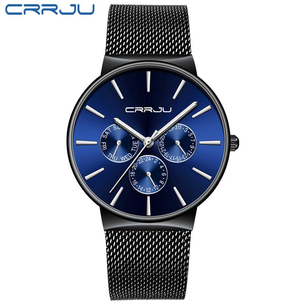 Reloj para hombre 2019 crrhu marca superior de lujo para hombre reloj de pulsera ultrafino resistente al agua reloj de pulsera de malla para hombre reloj de cuarzo Casual