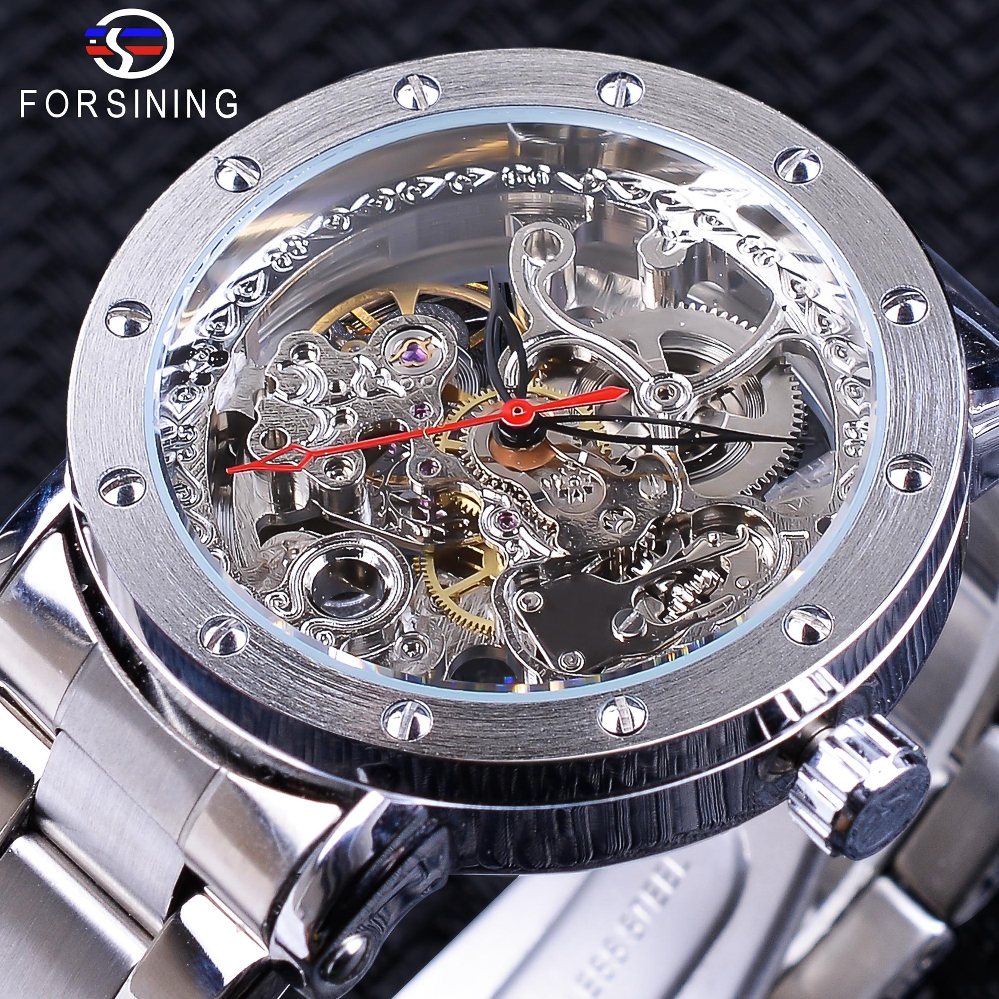 3b041684cbb Forsining Moda Esqueleto de Prata Relógio de Pulso Preto Vermelho Ponteiro  Prata Correia de Aço Inoxidável