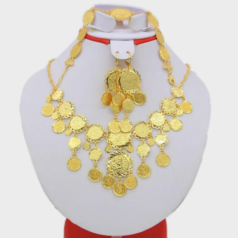 Arab Coin Set Jewelry Women Gold Color Necklace/Earrig/Bracelet Muslim India/African/Dubai/Ethiopia/Nigeria/Arabic/Oman Items цена