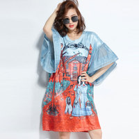 F&JE 2018 Summer New Fashion Women Batwing Sleeve Loose Knee length Dress vintage Print Casual Dresses Big Size High Quality U99