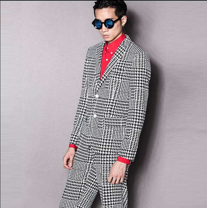 Original Street British Gentleman Mens Clothing Brand Casual Suit Slim Houndstooth Plaid Simple Suits Costumes Wedding