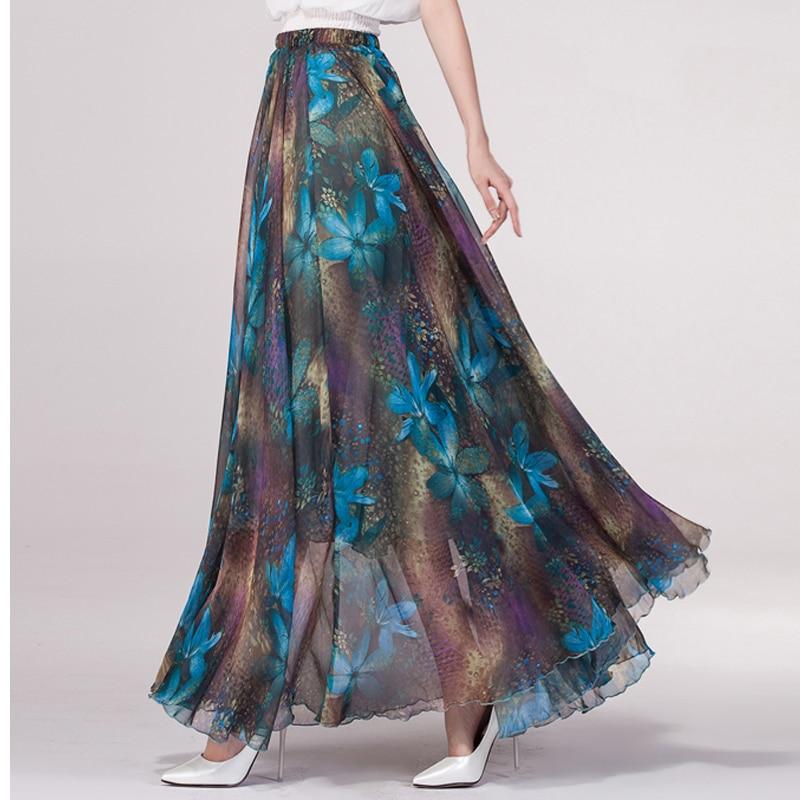 2019 summer chiffon vintage floral print Floor Length bohemia maxi skirt Holiday beach skirt