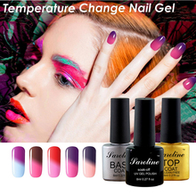 Magical UV Gel Varnishes Lacquer Home Manicure for artificial fingernail polish Changing color Temperature Gel nail polish