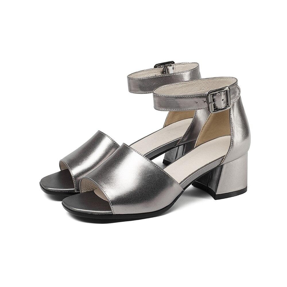 ASUMER 2020 mode été femmes sandales talons hauts chaussures top qualité véritable lesther offre spéciale chaussures chaussures élégantes femme-in Sandales femme from Chaussures    3
