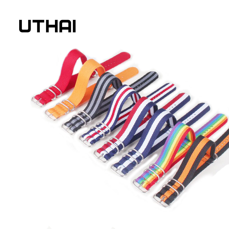 UTHAI Z23 8 Color Heavy Duty Nylon Watchband NATO ZULU Strap 18mm 20mm 22mm 24mm Striped Rainbow Canvas Replacement Watch Band цена