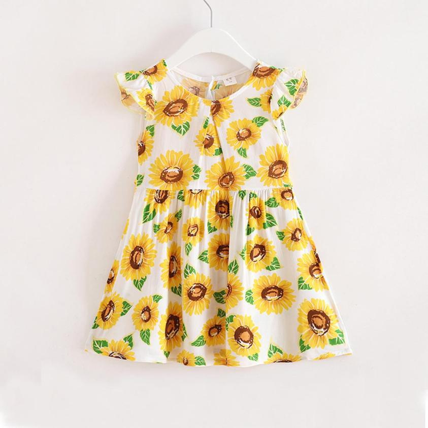 Summer Cute Baby Kids dresses for girls Toddler Princess Party Floral Print Tutu Dress Photography Props children's clothes