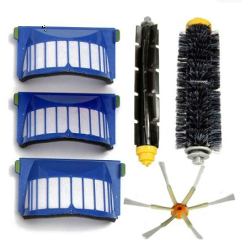 AeroVac Filters Bristle Flexible Beater Brush Side Brush For iRobot Roomba 600 Series 610 611 627 620 630 650 Vacuum Part kit bristle brush flexible beater brush fit for irobot roomba 500 600 700 series 550 650 660 760 770 780 790 vacuum cleaner parts