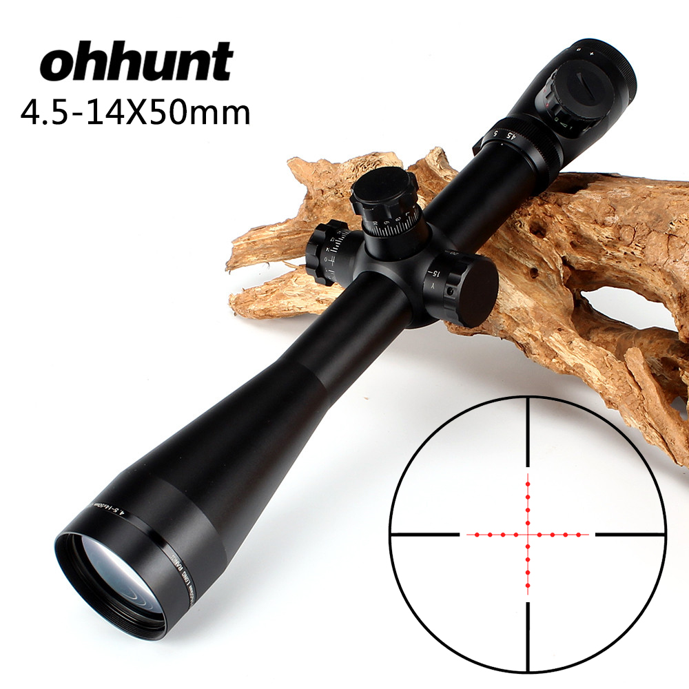 ohhunt 4.5-14X50 Hunting Rifle Scope Riflescope Mil Dot Illuminated Top Quality Tactical Optical Sight Free Shipping hunting riflescope combo c4 12x50eg rifle scope