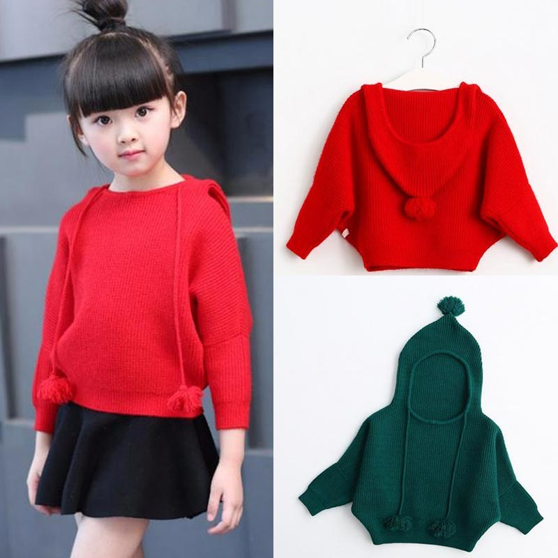 New 2018 spring and autumn girlS sweater childrens baby fashion hooded sweater childrens sweater Red Gray Dark green Navy ...