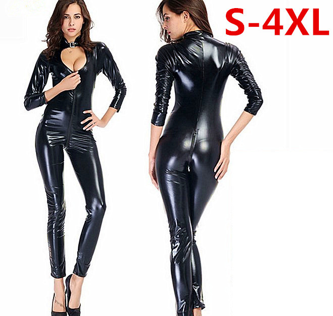 Plus Size <font><b>4XL</b></font> <font><b>Sexy</b></font> Lingerie <font><b>Leather</b></font> PU jumpsuit front to crotch Zipper nuisette <font><b>sexy</b></font> catsuit open crotch Babydoll Teddies Women image