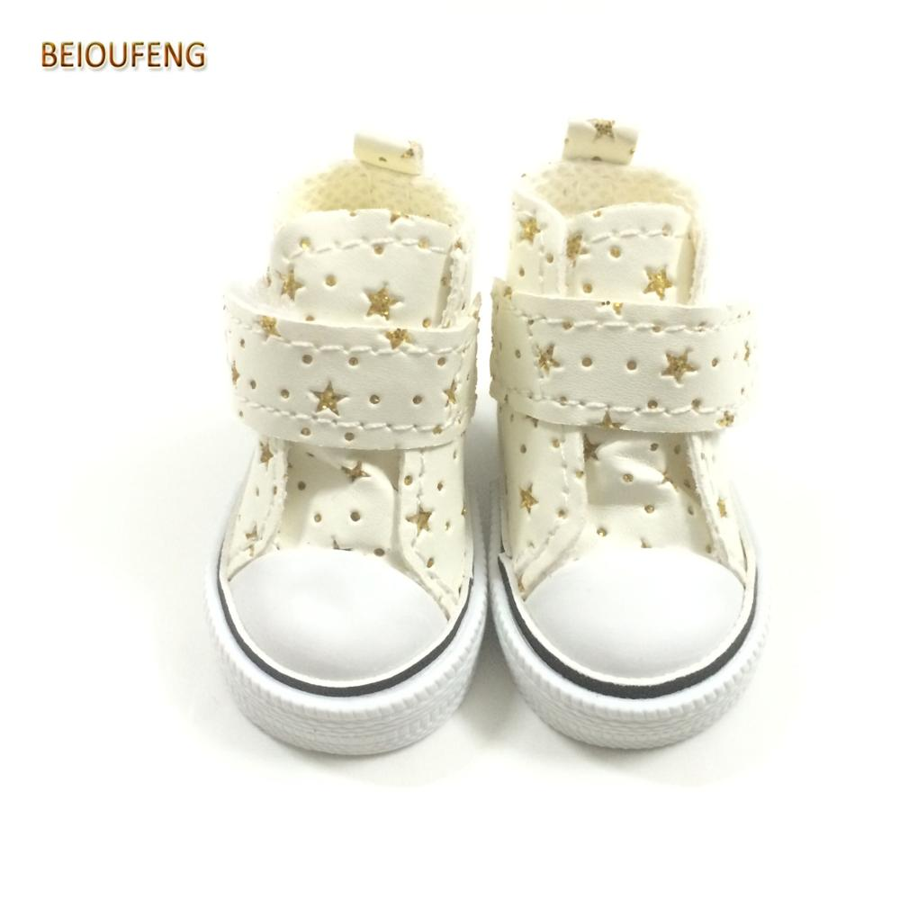 BEIOUFENG 6CM Fashion Doll Shoes for Paola Reina Doll,Mini Toy Boots for Minifee 1/4 Doll,1/4 BJD Footwear Gym Shoes for Corolle handsome black army boots for bjd doll 1 4 1 3 sd17 uncle ssdf shoes sm8