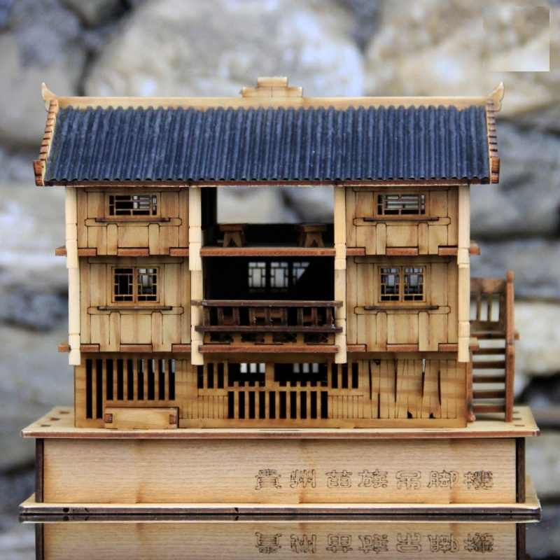 Chinese minority national architecture model kit Classic Miao Stilted buildings DIY wooden model kits