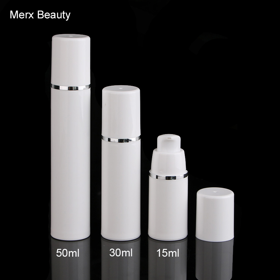 50ml white airless vacuum pump lotion bottle with silver pump used for cosmetic container White Airless Cosmetic Vacuum Pump with silver line Lotion Bottle 15ml/30ml/50ml,10pcs and 50pcs options. MERX BEAUTY BRAND