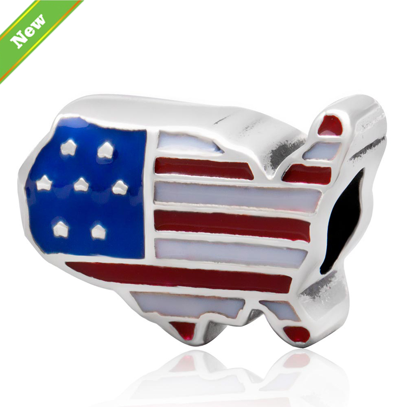 Aliexpress Com Buy Usa Flag Charms Authentic 925