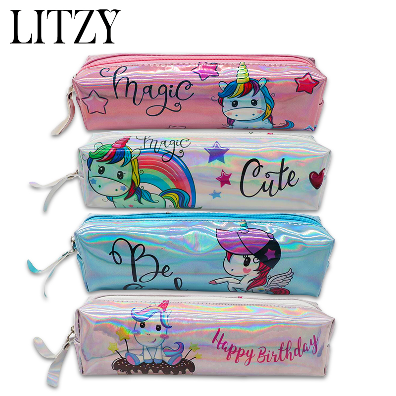 Holographic Laser Pencil Case Unicorn Pencil Bag For Girl Boy Student Big Capacity PU Flamingo Pen Box School Supply Stationery big capacity high quality canvas shark double layers pen pencil holder makeup case bag for school student with combination coded lock