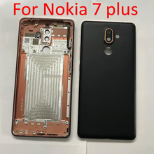 For Nokia 7 Plus Battery Back Cover Rear Housing Rear Door With Camera Glass + Side Buttons Spare Parts E7 plus 7Plus TA-1062