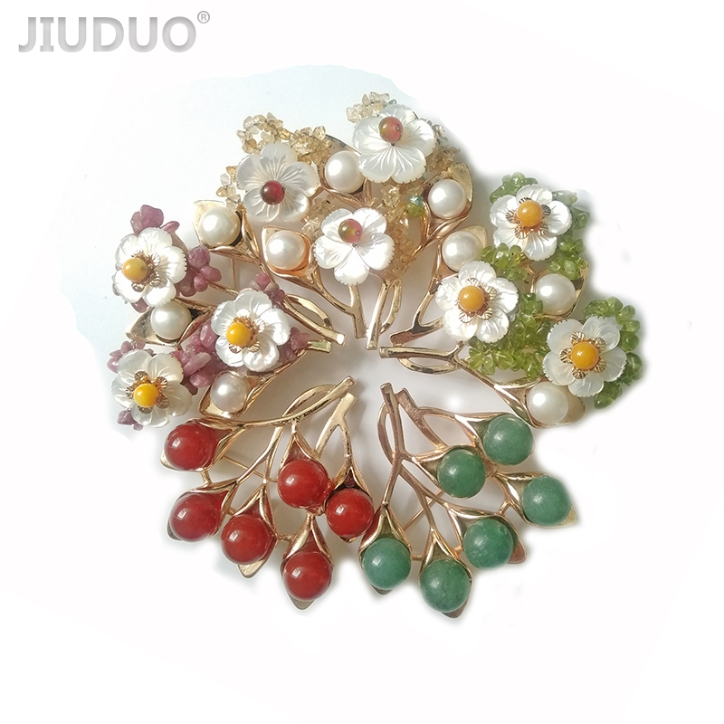 JIUDUO jewelry Genuine Elegant bouquet women's brooch with free shipping gem or pearl brooch Multifunctional brooch for women elegant faux pearl embellished brooch for women