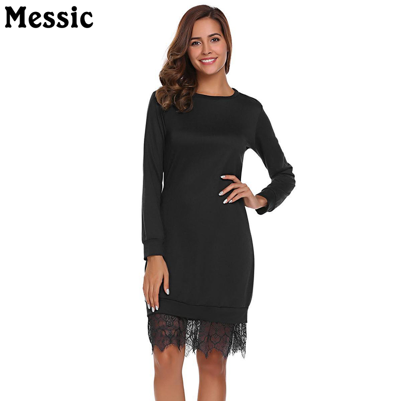 Messic Knitted Lace Spliced Womens Dresses 2018 Winter Long Sleeve Round Neck Elegant Midi Dress Femme Loose Vestidos Polyester dark blue round neck plaid womens long sleeve dress