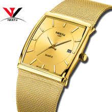 NIBOSI Luxury Brand Mens Watches Business Watch Military Quartz Square Stainless Steel Strap Casual Gold Wristwatch