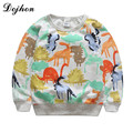 2017 New Graffiti Jurassic Dinosaur Kids Sweatshirts cartoon Painting Tees Baby Clothes For Boys Girls Tops Children Clothing