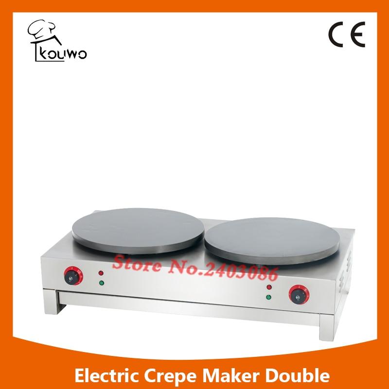 Non-Stick TEFLON COATED PROPANE electric  Commercial Crepe Maker Pancake Grill Machine DOUBLE (KW-EC2)