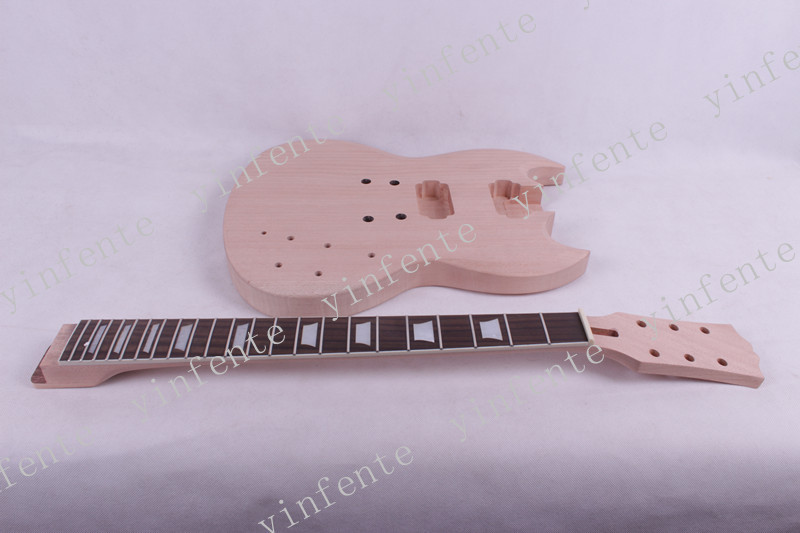 one set electric guitar neck and body high quality mahogany made with rosewood fingerboard tg02 high quality boat style a4 steel electric guitar jack set silver