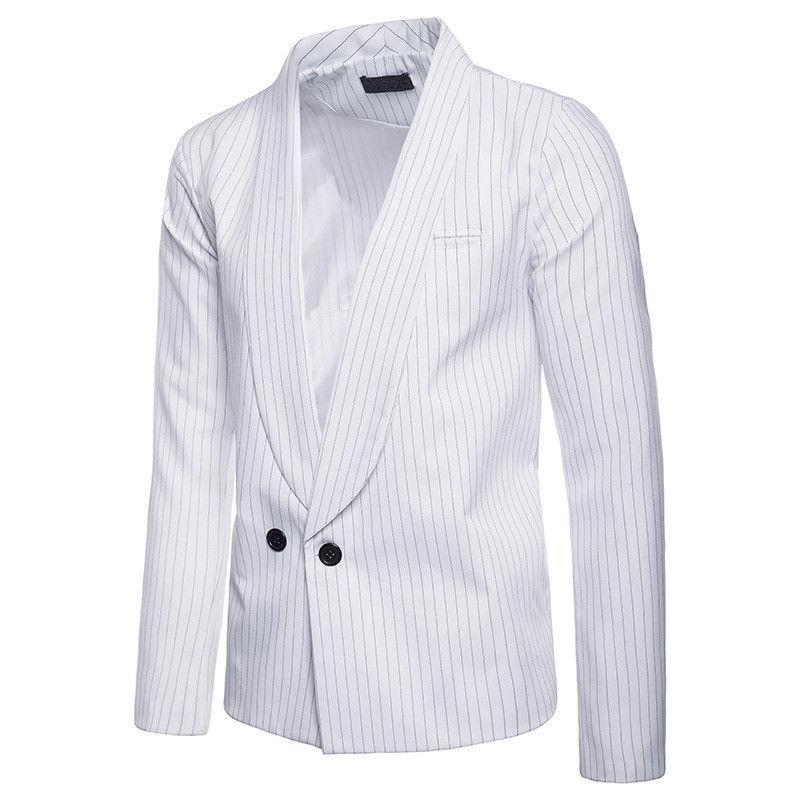 Detalle Comentarios Preguntas sobre Alta calidad de lujo de moda marca  hombres Blazer rayas Casual Slim Fit traje chaqueta Blazers clásico Mens  trajes más ... 3e08a040ee76