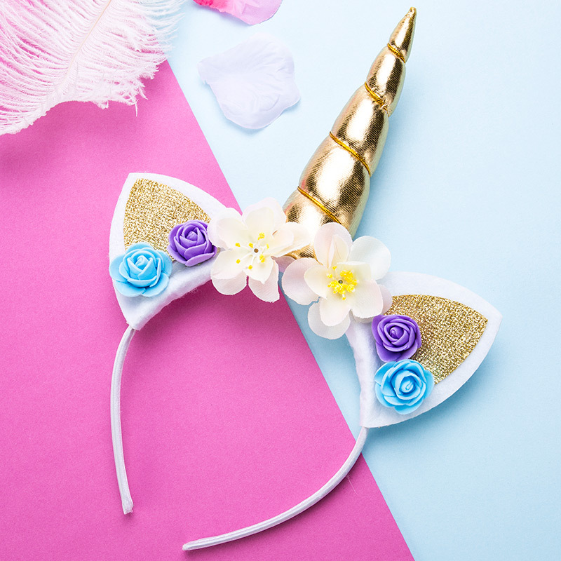 Cute Unicorn  Girls Flower Cat Ears Headbands Children Headwear Photo Props Party Hair Hoop Hairbands Kids Hair Accessories