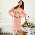New fashion adult girl night dresses comfortable cotton nightwear round neck Long-sleeves nightgowns