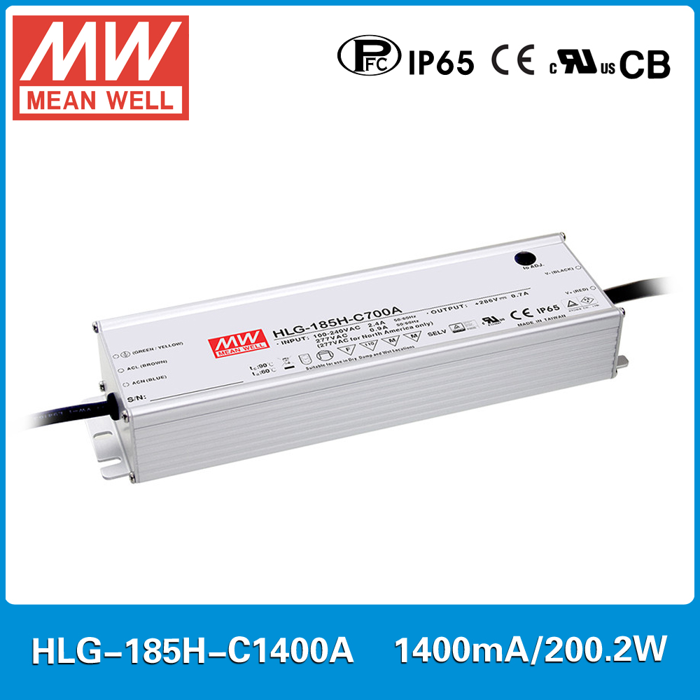 MEAN WELL constant current LED Power supply HLG-185H-C1400A 71~143V 1400mA 200W PFC waterproof and current adjustable A type