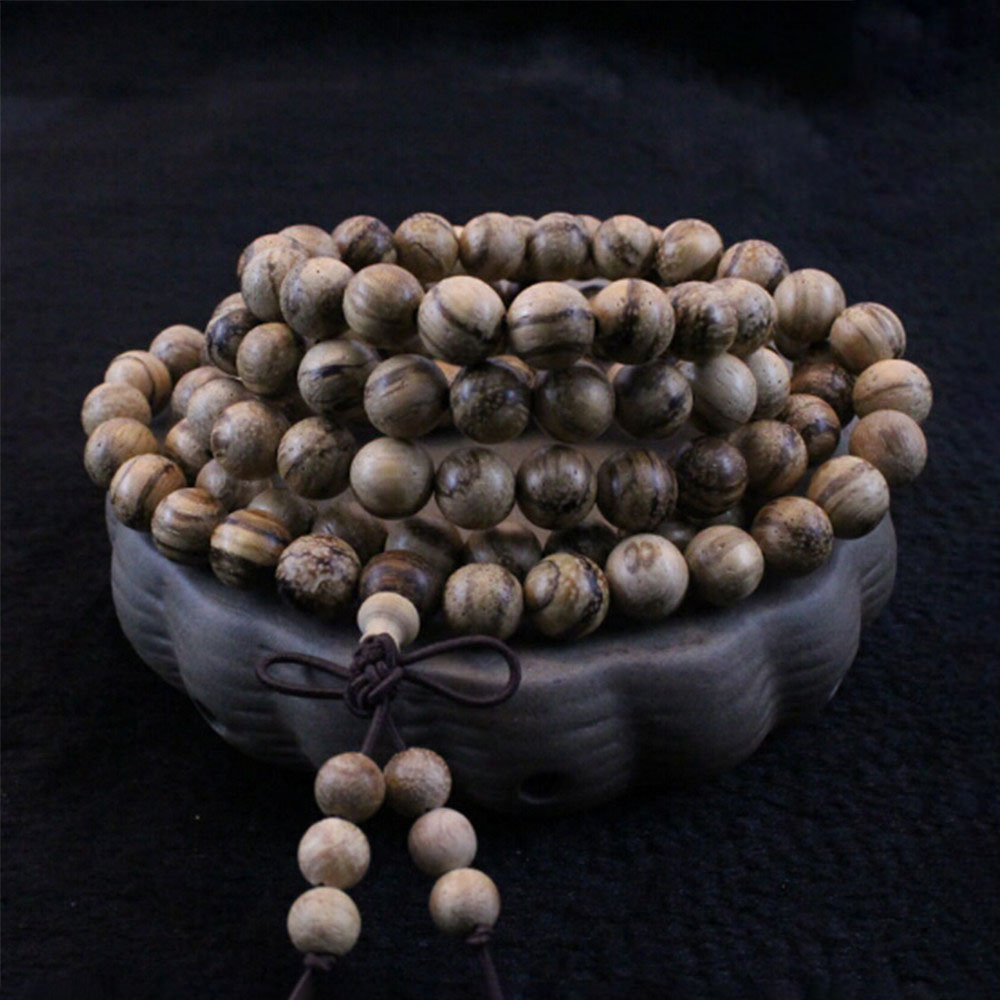 Vietnam Wood Beads Hand String Natural Scent 8mm White Sand Wood Buddhist 108 Mala Prayer Bracelet Hand Made Crafts Wholesale