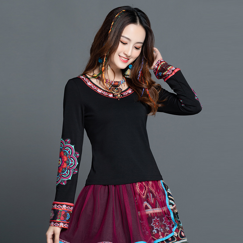 KYQIAO Vintage T Shirt Women Autumn Spring Mexico Style Hippie Ethnic Long Sleeve O Neck Black Floral T-shirt Tee Tops