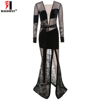 HAGEOFLY Sexy See Through Maxi Dress Long Sleeve Deep V Neck Backless Lace Velvet Mesh Long