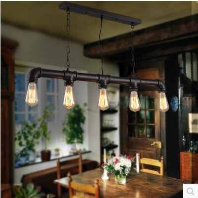 Retro Loft Style Vintage Industrial Pendant Lighting Fixtures With Edison Bulbs Water Pipe Lamparas Vintage Lamp 2pcs american loft style retro lampe vintage lamp industrial pendant lighting fixtures dinning room bombilla edison lamparas