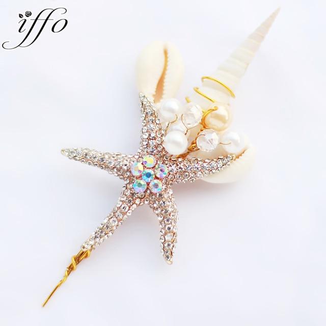 Ocean theme groom corsages, beach wedding starfish shell hemp Men's brooch, bridegroom jewelry accessories lapel flowers
