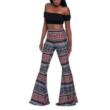 215979eaaf4 Boho Hippie High Waist trousers Summer Printed Wide Leg Long Flared Bell  Bottom