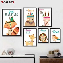 Prints Cartoon Painting Pictures Tribe Woodland Animal Rabbit Fox Wall Art Canvas Nordic Poster Modern Baby Bedroom Decora Gift