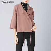2018 Solid Flare Sleeve Short Style Loose Women Sweater Fashion Turn Down Collar Lace Up Waist