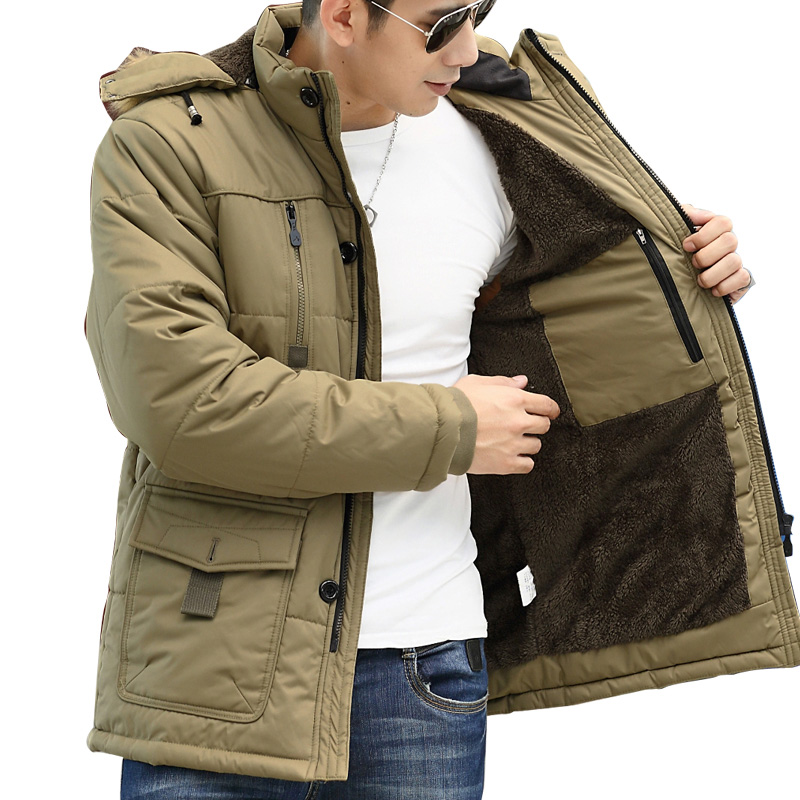 1.4KG Thicken Winter Mens Parka Jacket 2016 Brand New Wool Liner Hooded Down Coat Men Army Military Casual Jacket Plus Size 5XL