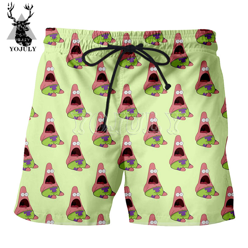 YOJULY Summer Men 3D Anime Cartoon Print Swimwear Unisex Casual Beach Board Shorts