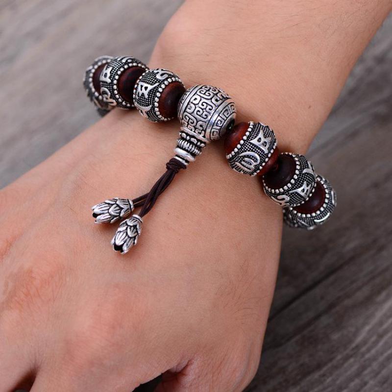 Тибетский ОМ МАНИ ПАДМЕ ХУМ браслет натуральный дольчатый красный сандал инкрустированные 925 пробы серебряной головой Будды мантра для Для мужчин Для женщин влюбленных - 5